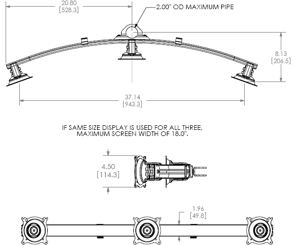 Technical Drawing for Chief KTA320 Triple Horizontal Array Pole Clamp