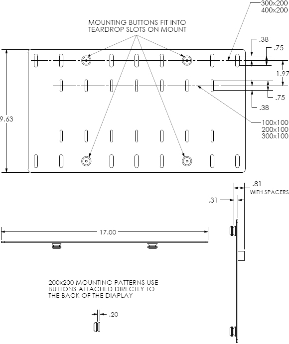 Technical Drawing for Chief MSBVB or MSBVS Universal Flat Panel Interface Bracket