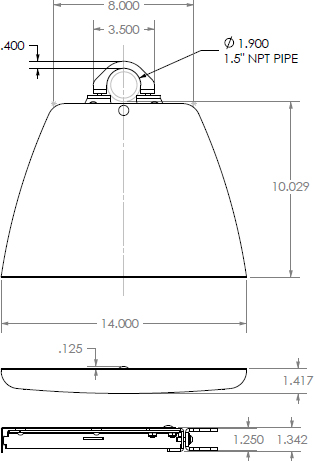 Technical Drawing for Chief PAC102B Component Pole Shelf