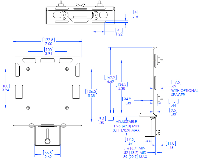 Technical Drawing for Chief PAC261D DMP Direct to Display Mount with Power Brick Adapter