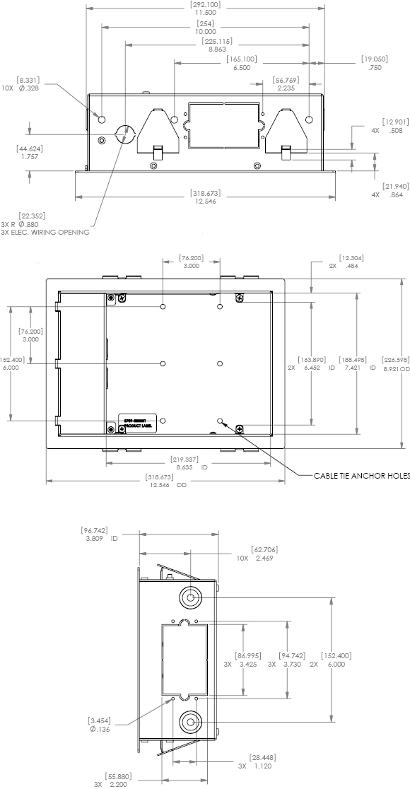 Technical Drawing for Chief PAC521P In-Wall Box with Power Outlet Conditioner