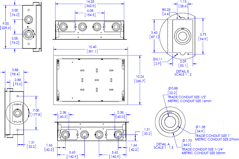 Technical Drawing for Chief PAC525F or PAC525FW In-Wall Storage Box with Flange