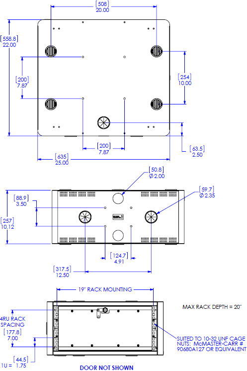 Technical Drawing for Chief PAC735A or PAC735B or PAC735C Secure Storage Cabinet