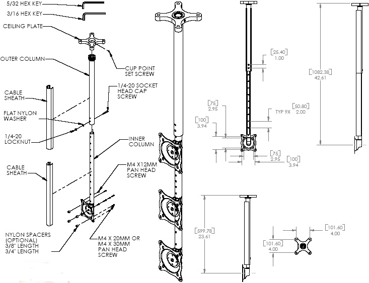Technical Drawing for Chief FHPVB Small Flat Panel Ceiling Mount Kit (10-40