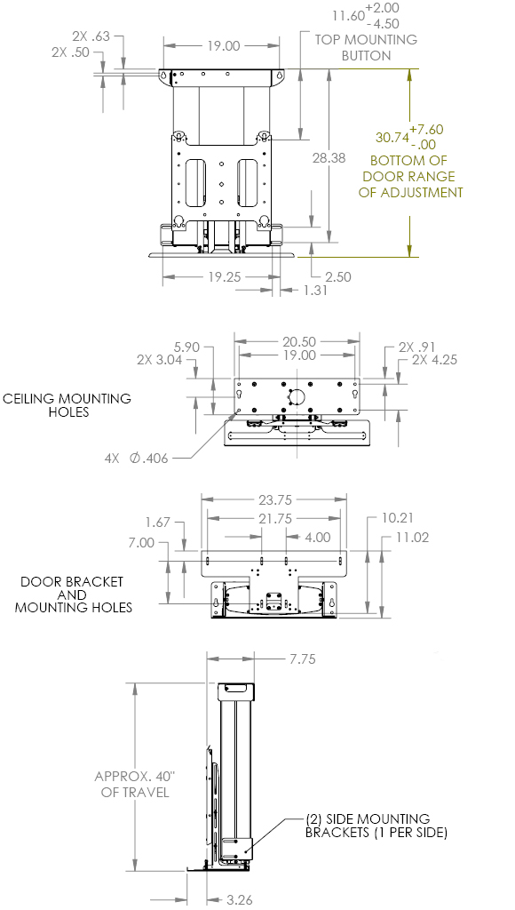 Technical Drawing for Chief CM2C40 Universal Automated Ceiling Lift