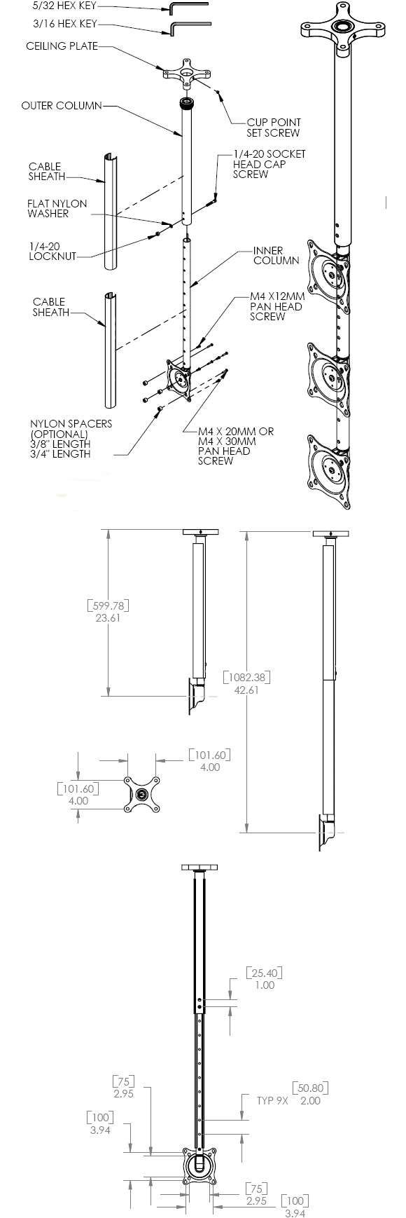 Technical Drawing for Chief FHP110B Small Ceiling Mount Kit