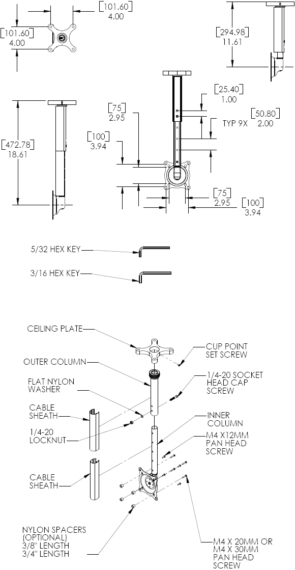 Technical Drawing for Chief FHP18110 Small Ceiling Mount Kit