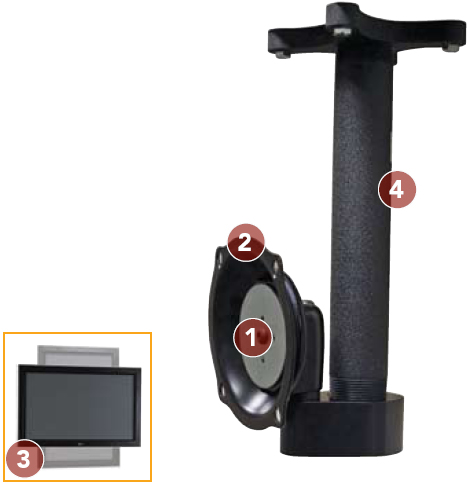 Chief JHSVB or JHS110B or JHSUB Universal Single Ceiling Mount for Flat Panel Display