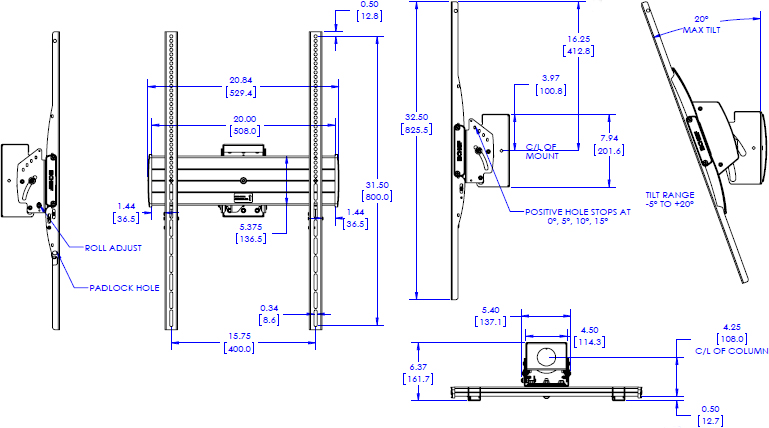 Technical drawing for Chief LCM1UP FUSION Large Portrait Flat Panel Ceiling Mount