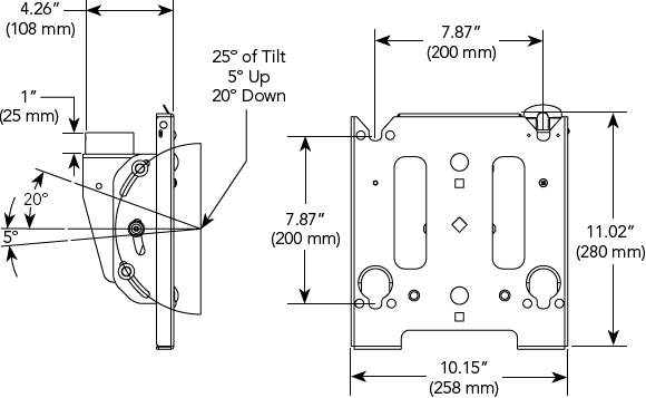 Technical Drawing for Chief MCSV Universal VESA Single Ceiling Mount