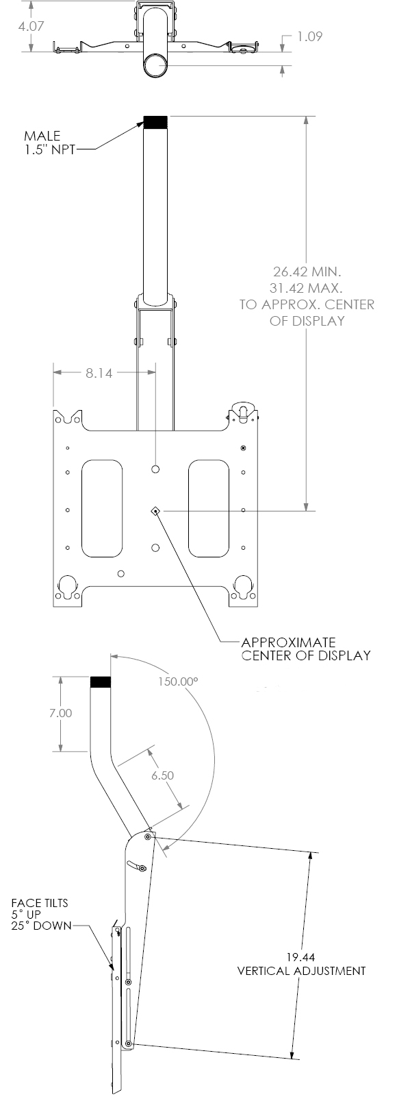 Technical Drawing for Chief PCMUS Ceiling Mount with Angled Column