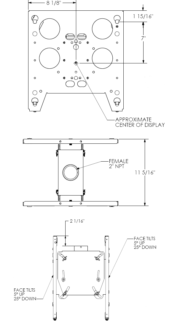 Technical Drawing for Chief PDCU Dual Ceiling Mount for Large Sceens