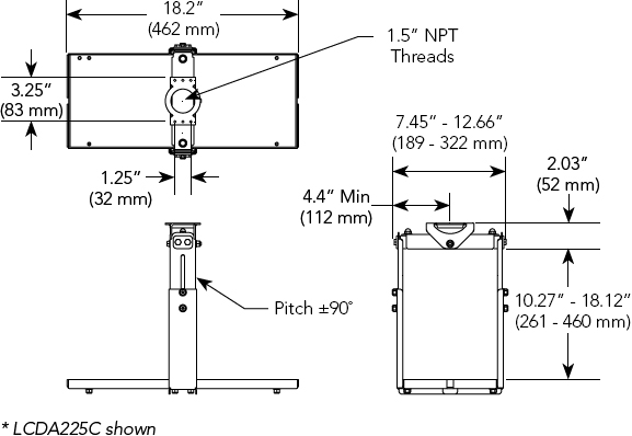 Technical Drawing for Chief LCDA225C Non-Inverted Projector Ceiling Mount