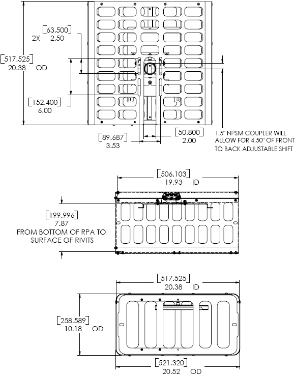 Technical Drawing for Chief PG1A Large Projector Guard Security Cage