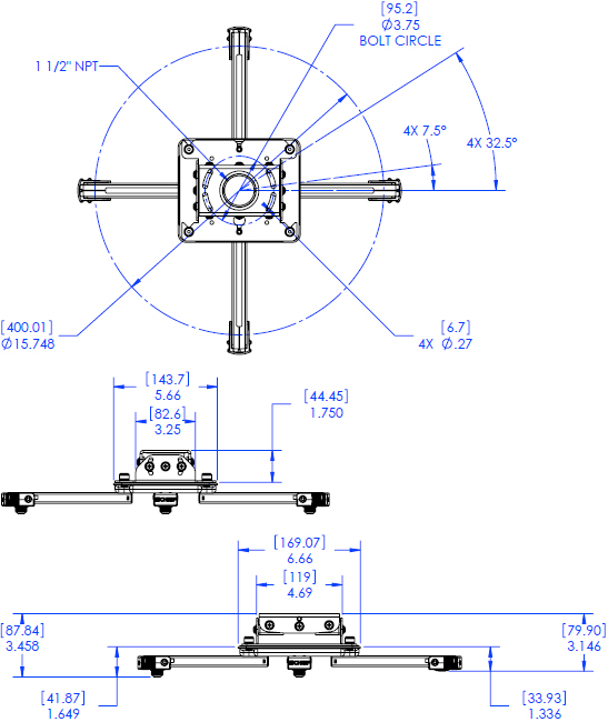 Technical Drawing for Chief RPAUS or RPAUW Universal Projector Ceiling Mount