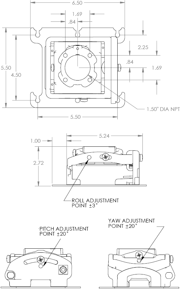 Technical Drawing for Chief RPMAU - RPA Elite Universal Projector Ceiling Mount with Keyed Locking