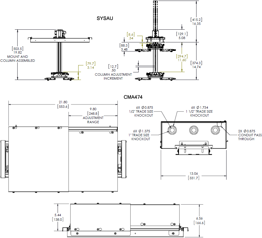 Chief Sys474ub Suspended Ceiling Projector System With Storage