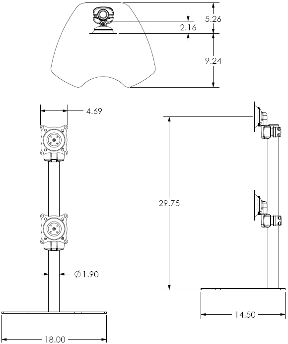 Technical drawing fo Chief KTP230B or KTP230S Table Stand Flat Panel Dual Vertical Monitor Mounts