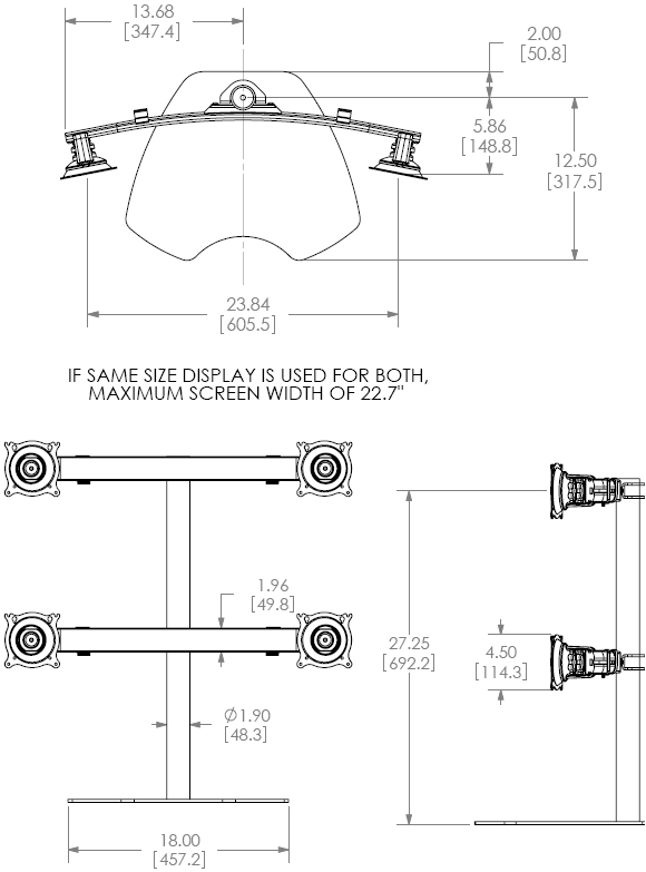 Technical Drawing for Chief KTP440 Quad Table Stand Flat Panel Monitor Mounts