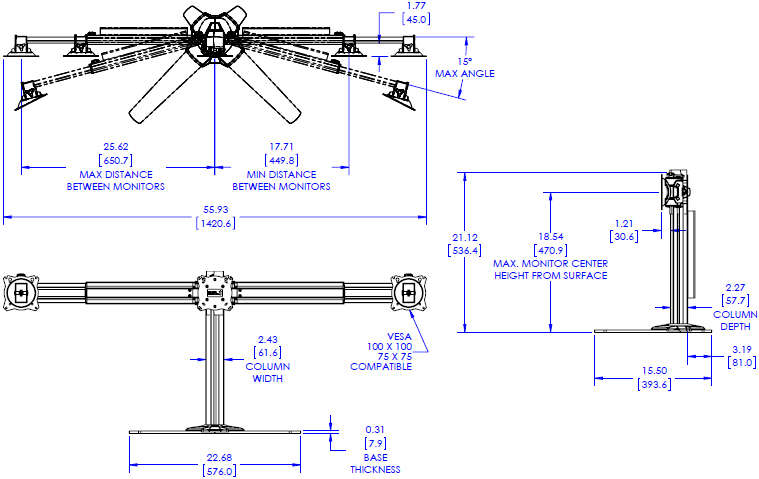 Technical Drawing for Chief K3F310B or K3F310S KONTOUR K3 Free Standing 3x1/2x1 Array