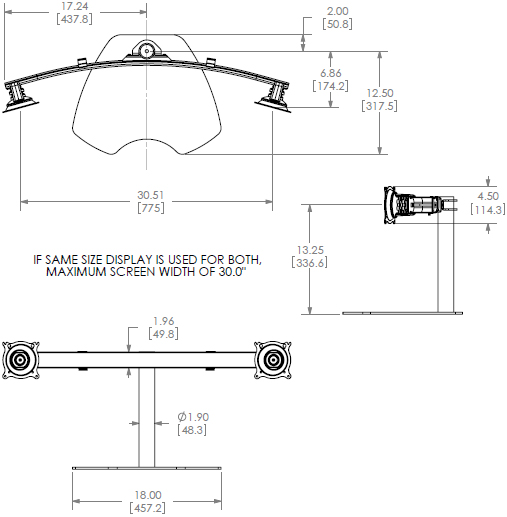 Technical Drawing for Chief KTP225B or KTP225S Widescreen Dual Horizontal Table Stand