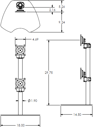 Technical Drawing for Chief Dual Monitor Vertical Table Stand KTP230S or KTP230B