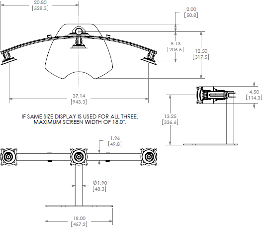 Technical Drawing for Chief KTP320B or KTP320S Triple Horizontal Table Stand