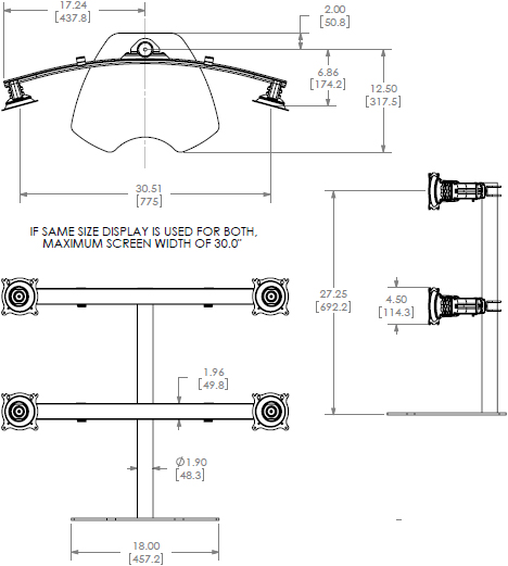 Technical Drawing for Chief Widescreen Quad Monitor Table Stand KTP445B or KTP445S