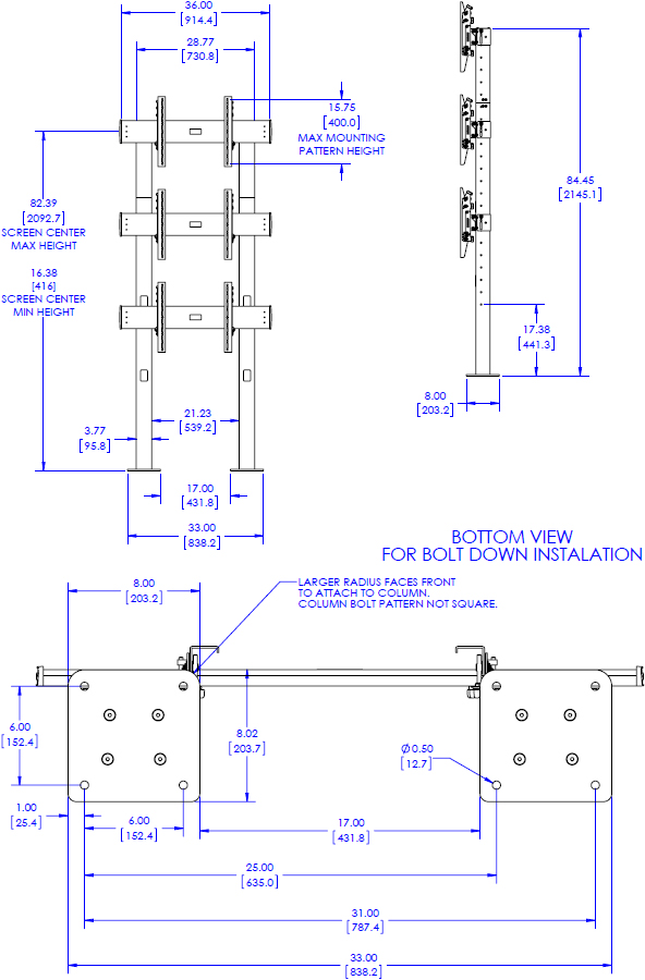 Technical Drawing for Chief LBM1X3U FUSION 1X3 Large Bolt-Down Freestanding Video Wall