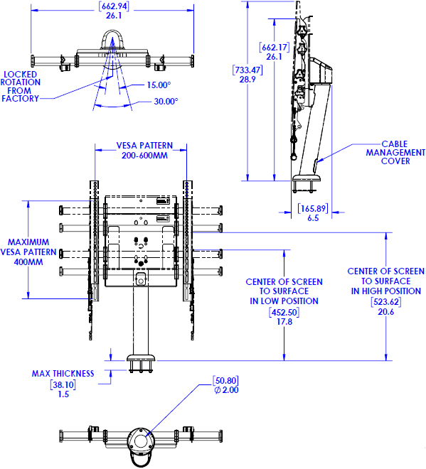 Technical Drawing for Chief LDB1U Large Fusion Flat Panel Bolt-Down Table Stand