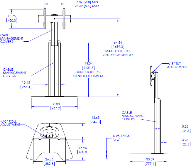 Technical Drawing for Chief MFAUB or MFAUS Height Adjustable Floor AV Stand (37