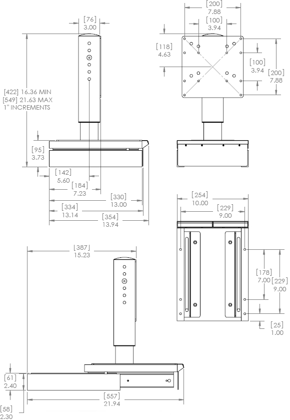 Technical Drawing for Chief MPOV Table Stand Universal Pull-Out Swivel Mount