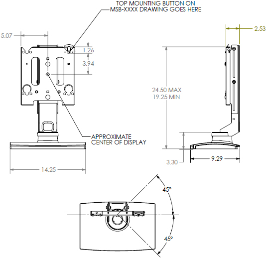 Technical Drawing for Chief MSSUB Medium Flat Panel Swivel Table Stand