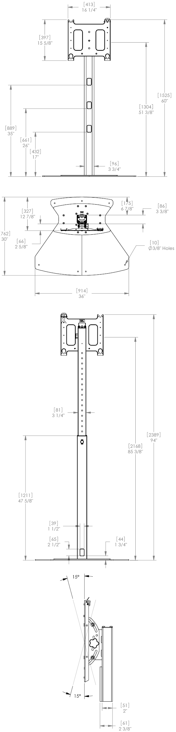 Technical drawing for Chief PF1 series Flat Panel Floor Stand Mount