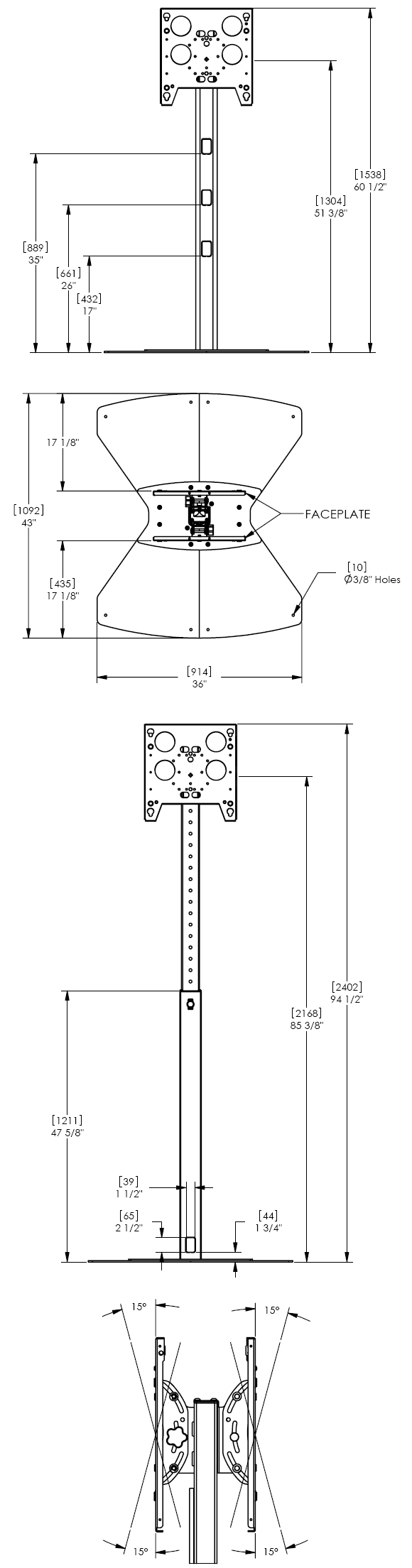 Technical Drawing for Chief PF2UB or PF2US Flat Panel Dual Display Floor Stand