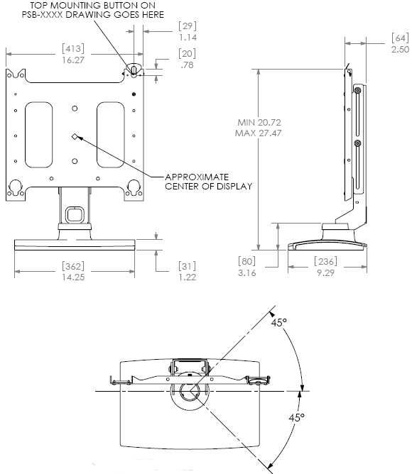 Technical Drawing for Chief PSS Plasma Swivel Table Stand