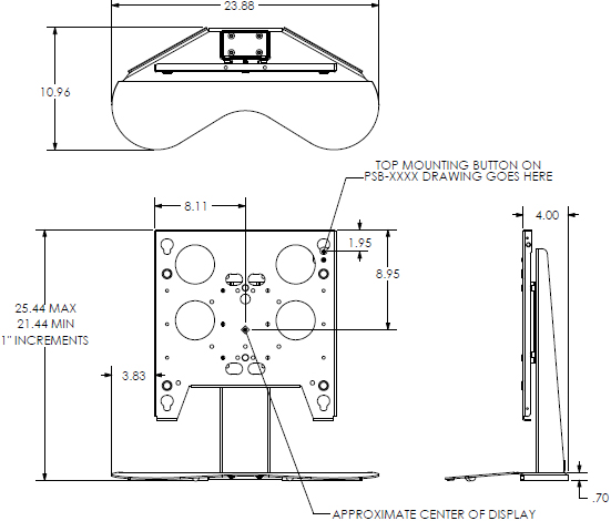 Technical Drawing for Chief PTSU Large Flat Panel Table Stand for 32-50