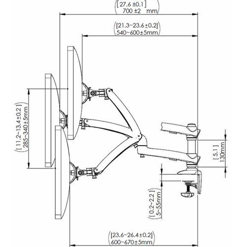 Technical drawing for Cotytech DM-GS2A Dual Apple Monitor Desk Mount Spring Arm