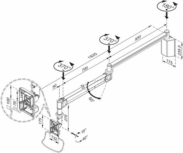 Technical drawing for Cotytech MW-M125PN Long Reach Medical Arm Wall Mount