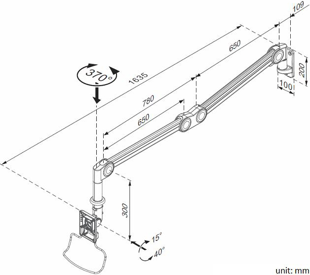 Technical drawing of Cotytech MW-M16P Long Reach Vertical Adjustable Medical Arm