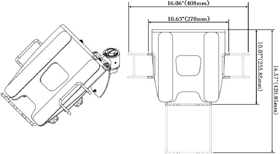 Technical Drawing for Cotytech VESA Mountable Laptop Tray - NBT-B1