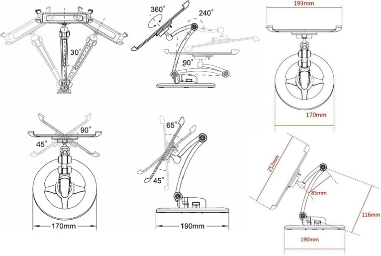 Technical drawing for Cotytech DWU-1W 3 or 4 Setting iPad Mount