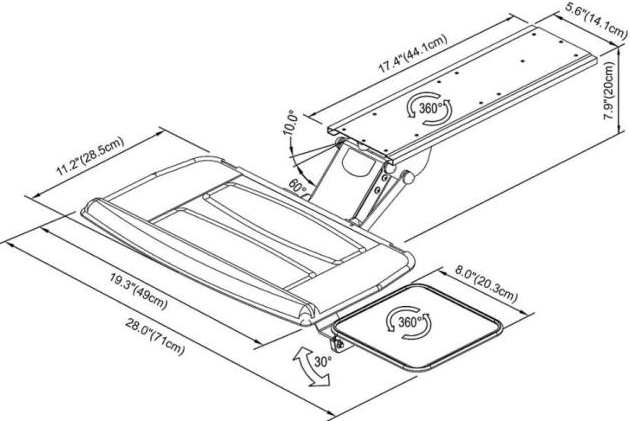 Technical drawing for Cotytech KGB-5A Fully Adjustable Keyboard Mouse Tray