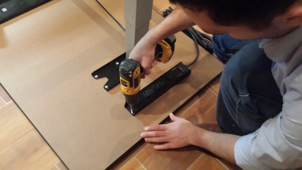 Install Surge Protector Power Strip Under Desk