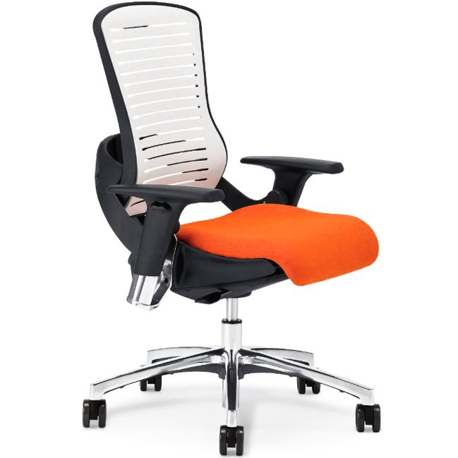 Black Frame, White Polyflex-Back Gaming Chair ED-OM5-XT