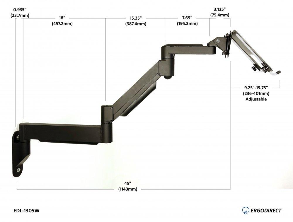 Extra Long Reach Wall Mount Laptop Arm, Wall Mount Articulating Laptop Arm