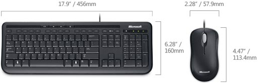 Technical Drawing of Microsoft APB-00001 Wired Desktop 600 Keyboard and Mouse