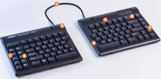Kinesis KB800PB-BT Freestyle2 Blue Ergonomic Wireless Keyboard for PC