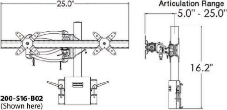 Technical Drawing for Ergotech 200-C16-S02-AP 200 Series Dual Horizontal Monitor Arm