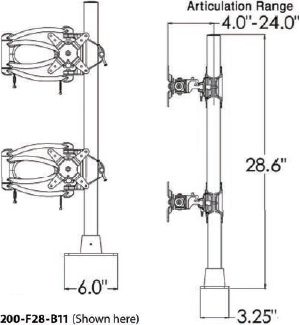 Technical Drawing for Ergotech 200-F28-B11-AP 200 Series Dual Vertical Monitor Arm